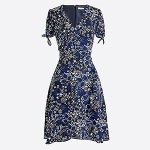 J Crew Printed Faux-Wrap Dress in Indigo Bandana